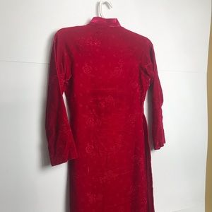 Vintage Dresses - 💥1/2OFF Vtg Red Velvet Traditional Long Dress